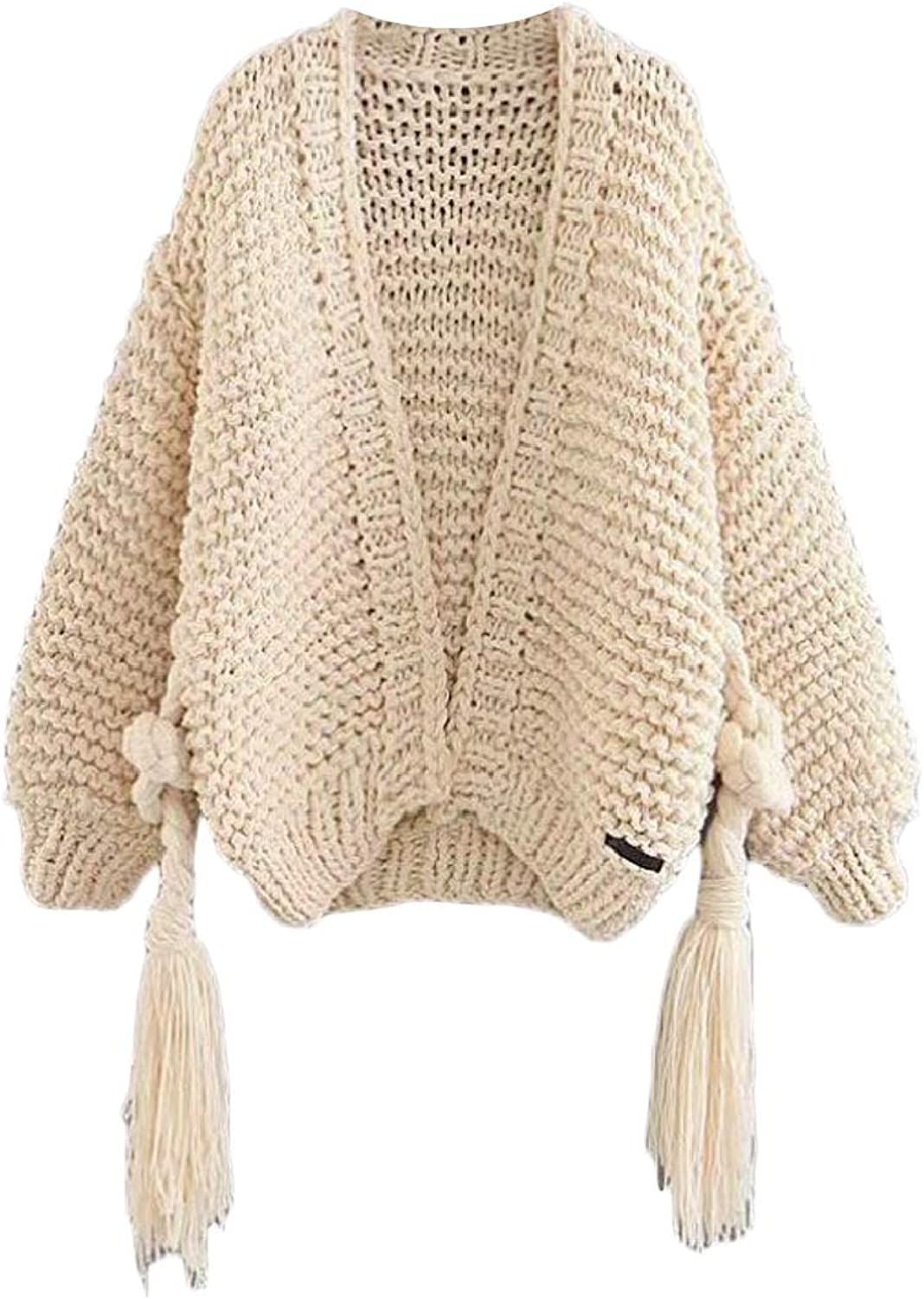 TDCACA Womens Long Sleeve Solid Loose Tassel Cable Sweater Cardigan with Belted