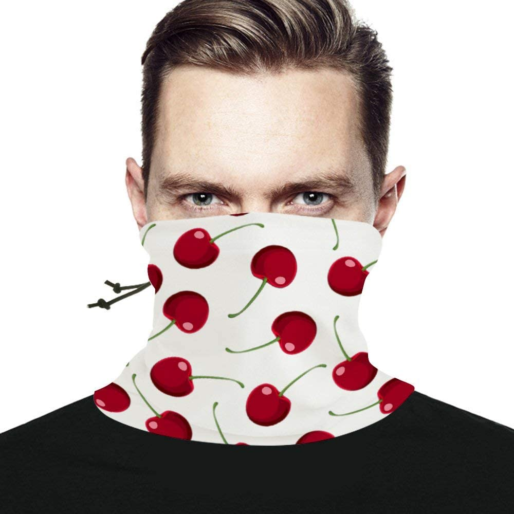 Red Cherry Seamless Scarf Headwear Neck Gaiter Bandana Neck Warmer Multifunctional Face Cover Windproof UV Protection For Men Women