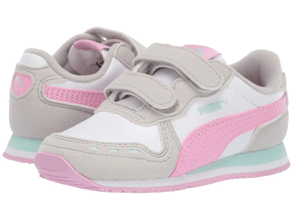 Puma Kids Cabana Racer SL Velcro (Toddler) (Puma White/Gray Violet/Pale Pink) Girls Shoes