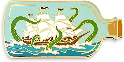 Pinsanity Ship In A Bottle Attacked by Sea Monster Enamel Lapel Pin