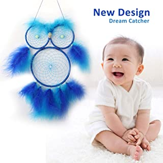 AerWo Owl Dream Catchers for Kids, Blue Dream Catcher for Boys Girls Bedroom Wall Hanging Decoration Craft Gift with Blue Feathers and Luminous Beads