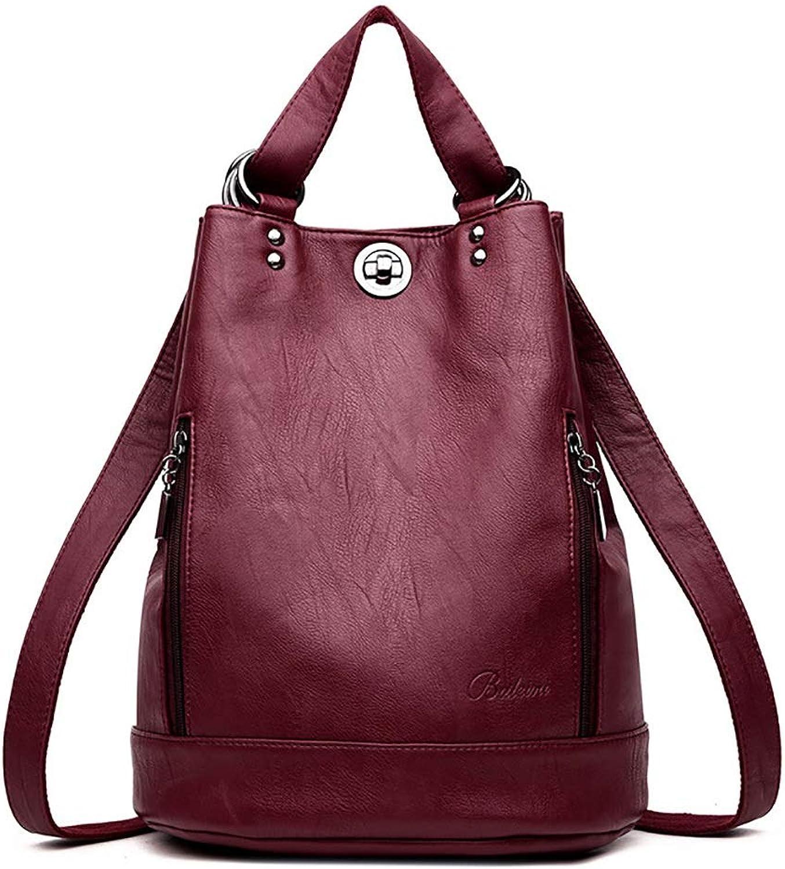 PU-Leder-Damen-beilufiger Rucksack-Reisetasche 28  17  35cm fünf Farben. (Farbe   rot)