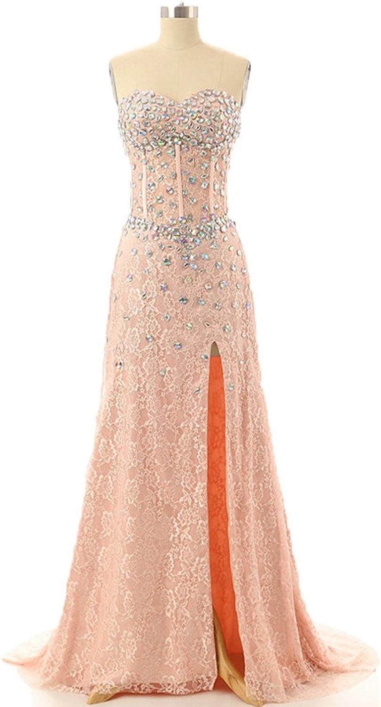 Dormencir Women's Strapless Beaded High Slit Lace Prom Party Dresses