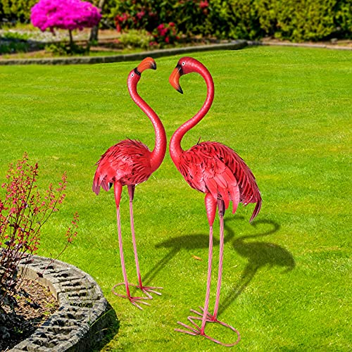 CYA-DECOR Flamingos Garden Statues and Sculptures Outdoor Metal Birds Yard Art for Home Patio Lawn Pond Flowerbed, 1…