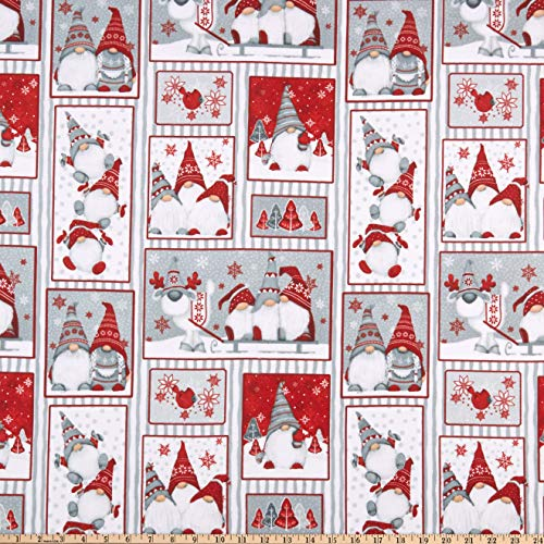 Henry Glass Flannel Winter Whimsy Gnomes Patch Allover Red/Gray Fabric by The Yard