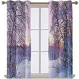 Cortinas para puerta de patio de 137 cm de largo, paisaje de un yate en lluvia con aislamiento térmico con ojales, 96,5 cm x 137,2 cm, 2 paneles