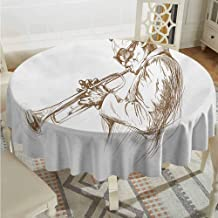 Camping Round Tablecloth Music Jazz Man Playing Trumpet with a Pose Sketch Image Solo Show Artwork Print Green Brown White Wrinkle Free Tablecloths Diameter 70