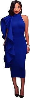 Arctic Cubic Sleeveless Asymmetric Asymmetrical High Mock Neck Ruffled Ruffle Hem Midi Bodycon Dress