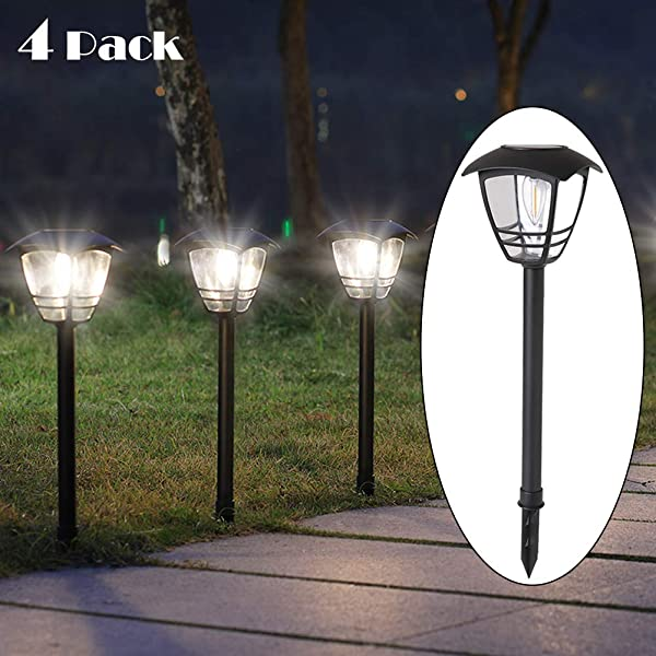 Maggift Vintage Solar Pathway Lights LED Bulbs Solar Powered Garden Walkway Lights For Outdoor Lawn Patio Yard Walkway Driveway 4 Pack 10 Lumen