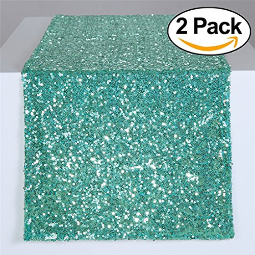 """Zdada 2 Package Wedding Sweetheart Table Linens Sequin Table Runners-Mint 12""""X108"""""""