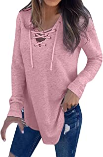 Cathalem Women's Lace Up Long Sleeve Shirt Front V Neck Pullover Sweatshirt Sexy Top Blouse