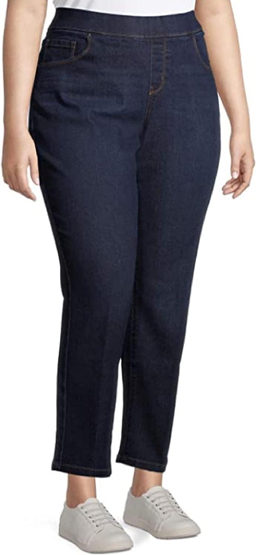 Women's Plus Size Denim on Straight Leg Jean with Tummy Control Dark Wash (0X)