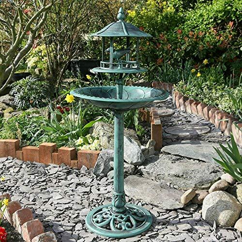 Salle de bain ornemental pour oiseaux avec table d'alimentation en bois