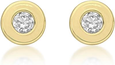 Carissima Gold - Orecchini a Lobo da Donna in Oro Giallo 9Kt, Rotondi con Zirconi Cubici