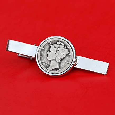 US 1920 Mercury Dime 90% Silver 10 Cent Coin Silver Plated Tie Clip Bar Pin NEW