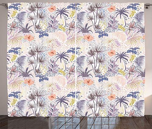 ABAKUHAUS Botanisch Gordijnen, Flora Kruiden Dots Strokes, Woonkamer Slaapkamer Raamgordijnen 2-delige set, 280 x 260 cm, White Multicolor
