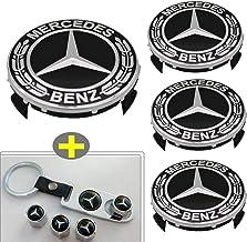 XIDE 4pcs 75mm/2.95'' Mercedes Benz Emblem Badge Wheel Hub Caps Centre Cover +4pcsTire Valve Stem Caps Cover with 1pcs Mer...