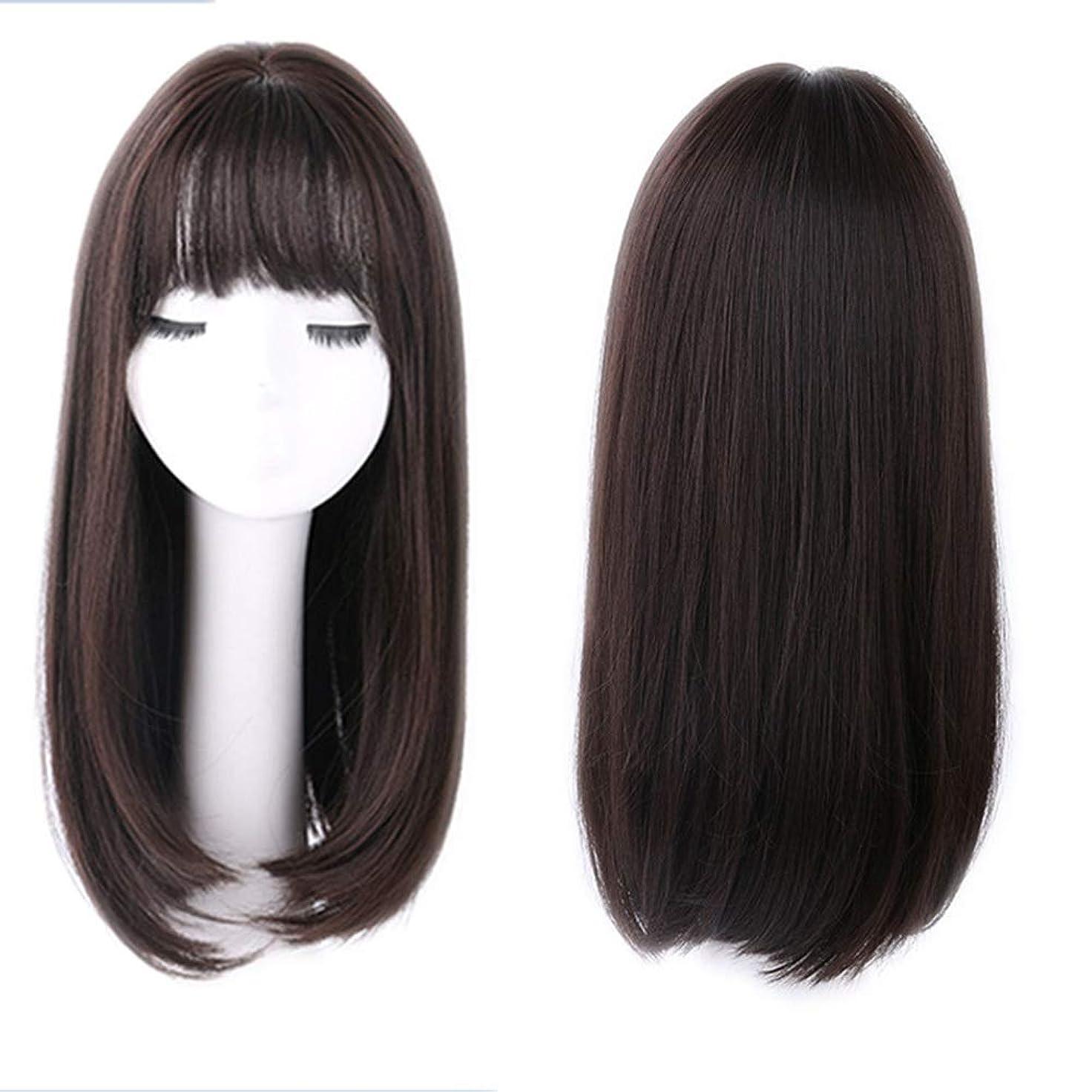 たっぷりに付けるどんよりしたIsikawan 女性のための空気前髪人工毛デイリーまたはコスプレドレスライトブラウンウィッグ付きナチュラルストレートロングヘア (色 : Brownish black)