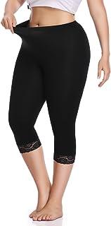Women's Plus Size Capri Cropped Leggings Stretch Lace Trim Soft Tights Pants