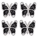 4 Pcs Rhinestone Patches Iron/Sew on Butterfly Appliques Clothing Sticker Decorative Beads Crystal Rhinestone Badges Patch for Clothes Bag Pants Shoes Cellphone Case, Black