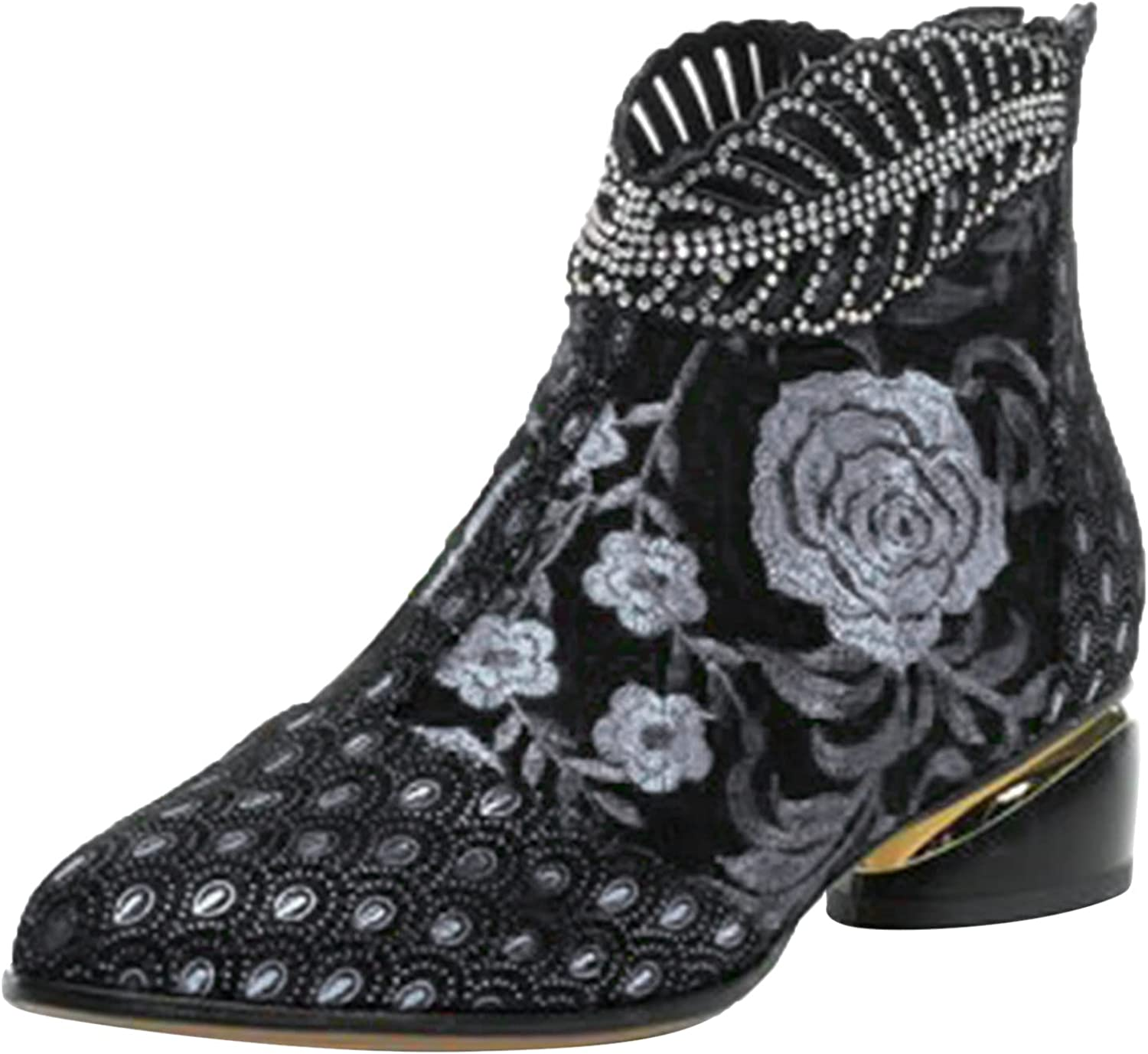 Women's Ankle Boot Vintage Embroidery Pointed Toe Zipper High Heel Short Naked Boots Shoes