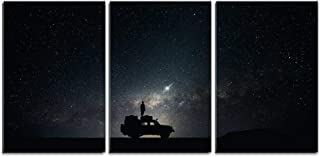 wall26 - 3 Piece Canvas Wall Art - Man Stand on The Car Under Starry Night - Modern Home Decor Stretched and Framed Ready to Hang - 16