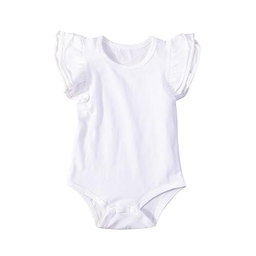 7b0a770870ba Minesiry Infant Baby Girl Basic Ruffle Short Sleeve Cotton Romper Bodysuit  Tops Clothes