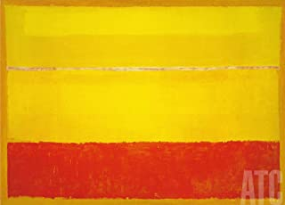 ArtToCanvas 40W x 29H inches : Untitled 1952 Yellow Red on Orange by Mark Rothko - Canvas w/Brushstrokes