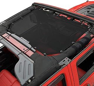 Shadeidea Jeep Wrangler Sun Shade JK Unlimited 2 Door and 4 Door Front-Black Mesh Screen Sunshade SAHARA RUBICON SPORT S Top Cover UV Blocker with Grab Bag-One time Install 10 years Warranty