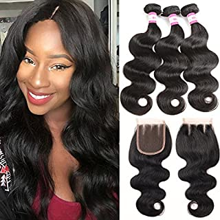 B&P Brazilian Body Wave with Closure 9A Unprocessed Human Hair Bundles with Closure 3 Bundles with 4x4 Closure Three Part 12 14 16+10