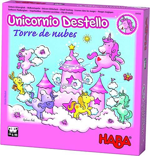 HABA- Juego de Mesa, Unicornio Destello - Torre de Nubes, (Habermass H304542)