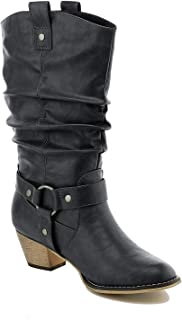 Women's Mid Calf Cowboy Boots Distressed Slouchy O-Ring Studded Pull on Block Heel Riding Boots Black 7.5