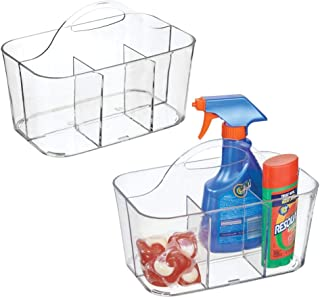 mDesign Plastic Portable Organizer Caddy Tote, Divided Basket Bin with Handle for Laundry Room Storage - Holds Bleach Pens, Stain Removers, Fabric Sheets, Lint Rollers - 2 Pack - Clear