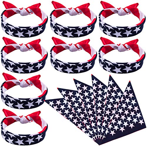 Duufin 13 Pieces American Flag Bandanas Headband USA Flag Clothing Bandana Patriotic Accessories