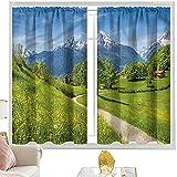 Cortinas de bloque para dormitorio, paisaje, flores silvestres en los Alpes, 100 x 200 cm, cortinas de bolsillo para barra para sala de estar