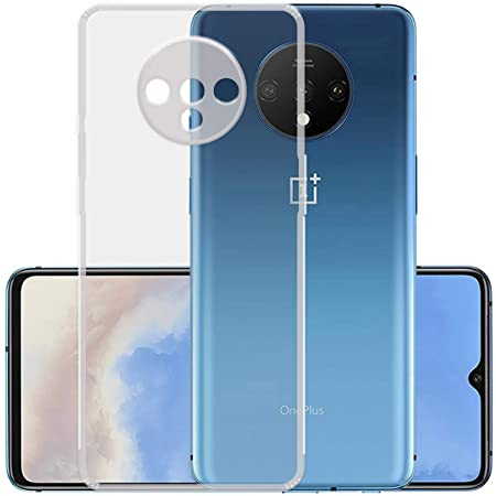 Casotec Slim Soft Silicon *Anti Dust Plug* Shock Proof Transparent TPU Back Case Cover for OnePlus 7T - Clear