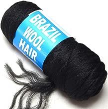 BLUPLE Brazilian Wool Hair 1 Roll Black Acrylic Yarn for African Hair Braiding Sengalese Twisting Jumbo Braids/Crochet Faux Locs/Wraps/Dreadlocks (1Roll, Natural Black)