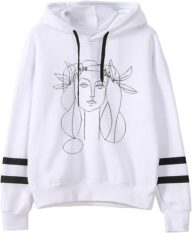 Esthétique Femmes Visage Art Hoodie Coréen Vogue Harajuku Sweat-shirt 90s Graphique Surdimensionné Streetwear Vêtements Femme S9585-blanc