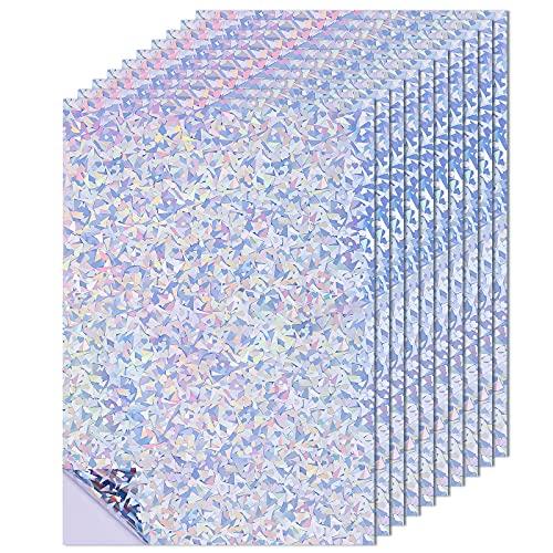 SAVITA 10 Hojas Vinilo Holográfica Papel Holografico Adhesivo Permanente Que Cambia de Color 21 x 29.7 cm para Impresora Láser de Inyección de Tinta Manualidades Pegatinas Álbum de Recortes (A4)