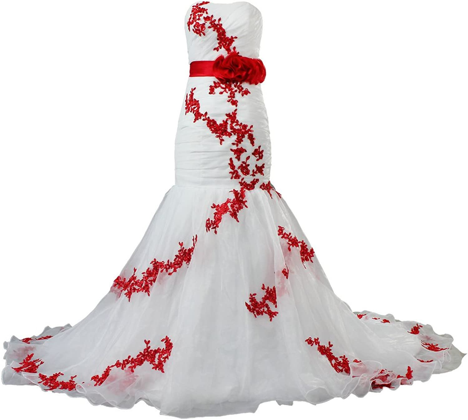 ANTS Women's Organza Strapless Mermaid Bridal Gowns with Red Lace