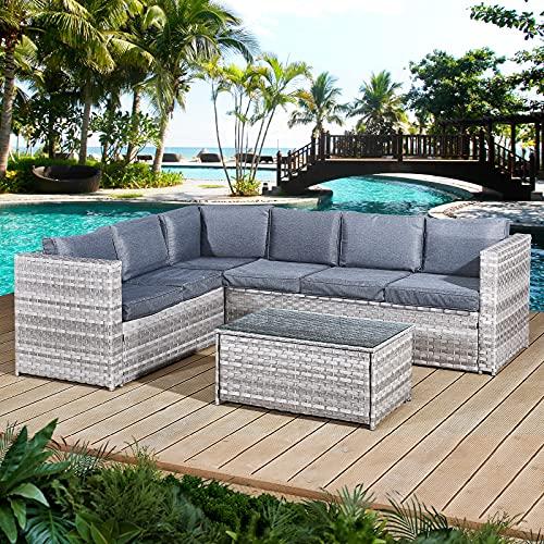 Oseasons Acorn Rattan 6 Seat Corner Sofa Set in Dove Grey