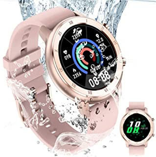 APCHY Reloj Inteligente Smartwatch para Mujer, Rastreador De Fitness Rosa 1.28, Pantalla Circular Completamente Táctil De La Menstruación Femenina, Monitor De Frecuencia Cardíaca