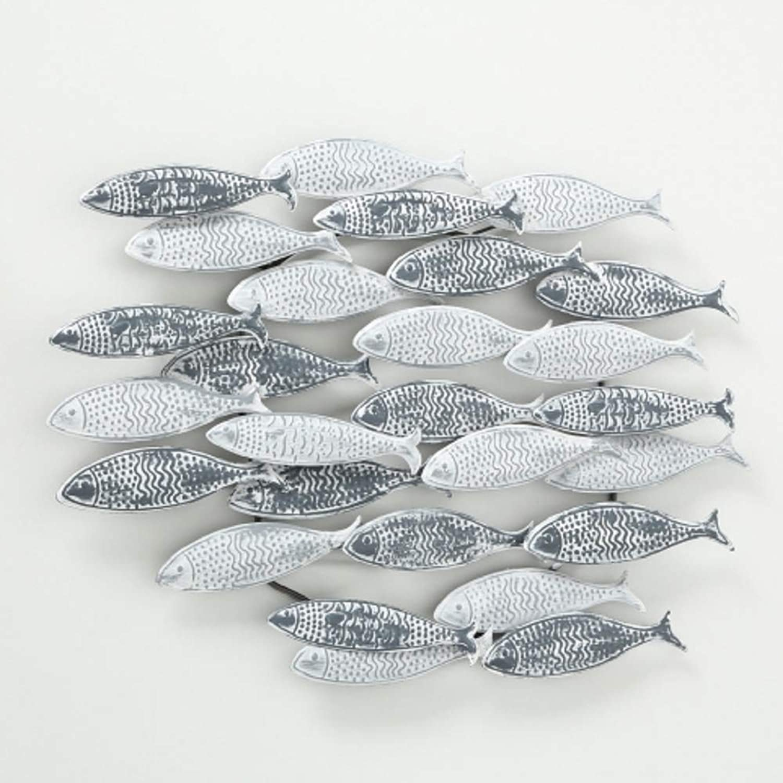 Home Collection Metall Wandobjekt Fische Fischschwarm B72cm wei grau
