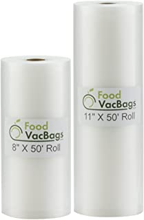 "2 Foodsaver Compatible 50' Rolls Vacuum Food Storage Bags Embossed Commercial Grade FoodVacBags One 8"" X 50' and One 11"" X..."