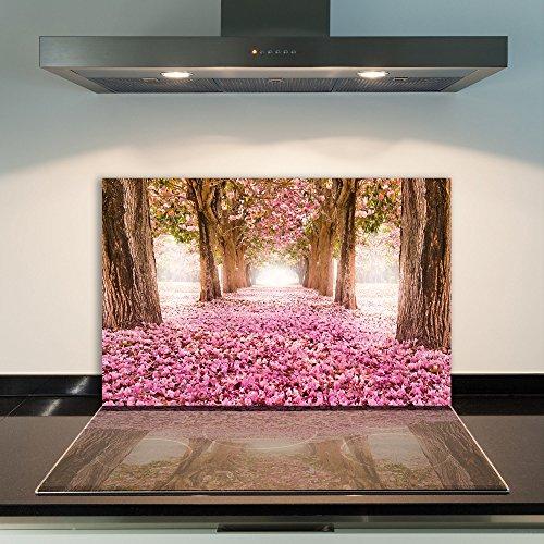 DAMU | Ceranfeldabdeckung 1 Teilig 80x52 cm Herdabdeckplatten Aus Glas Pink Natur Elektroherd Induktion Herdschutz Spritzschutz Glasplatte Schneidebrett