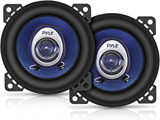 "4"" Car Sound Speaker (Pair) - Upgraded Blue Poly Injection Cone 2-Way 180 Watt Peak w/ Non-fatiguing Butyl Rubber Surround..."