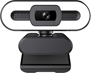 1080P HD Webcam with Ring Light and Microphone,Advanced Auto Focus,Adjustable Brightness,Wide 360° Rotating Base, Streamin...
