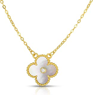 Solid 925 Sterling Silver Cubic Zirconia Four Leaf Clover Pendant and Necklace Adjustable to Length of 16