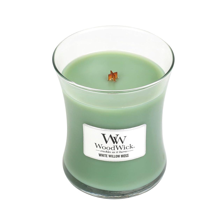 想定看板微視的WoodwickホワイトWillowモス、Highly Scented Candle、クラシック砂時計Jar、Medium 4インチ、9.7?Oz