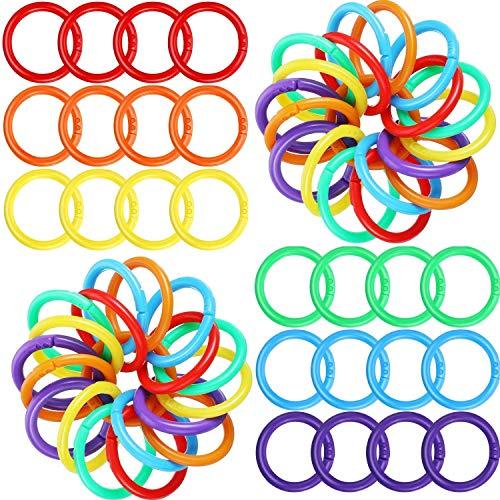 Sweetone Anillos de Libro de Plástico, 144 Piezas, Anillas de Encuadernacion Llaveros Coloridos Anilla de Carpeta de Páginas Sueltas para encuadernación de libro, anillo suelto,anillos, 6 colores